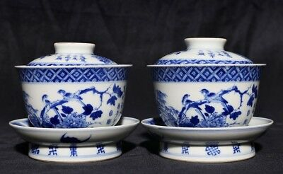 Pair Rare China Old Blue And White Porcelain Cups Marks ManTangFuJi Qing Dynasty