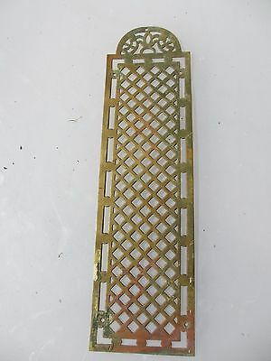 Antique Brass Finger Plate Push Door Handle Pierced Vintage Architectural Old