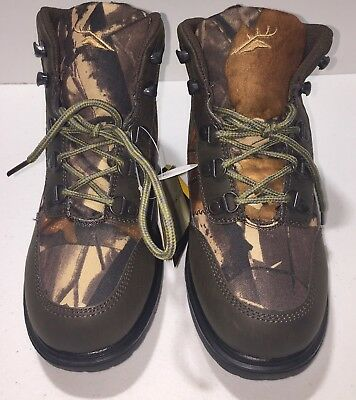 Deer Stags Hunt Youth  Round Toe Canvas Brown Boot Size 3.5 M