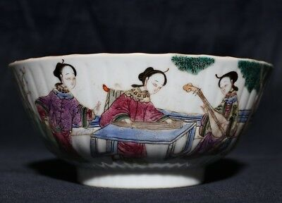 Rare Chinese Hand Painting Antique Famille Rose Porcelain Bowl Mark XianFeng