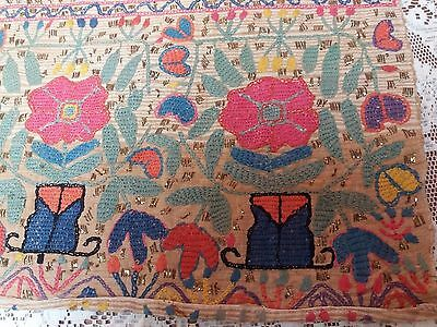 Antique Turkish Ottoman Hand Embroidered Towels Metallic Samplers Linen