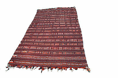 Decorative old handmade wool and cotton Uzbek Kilim rug in red colour 11.3'x6'