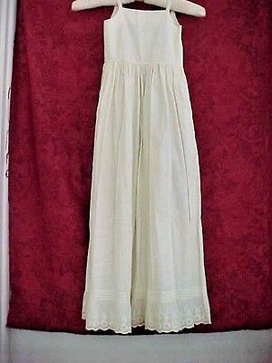 Vintage/Victorian Child's Night Gown~Dress~Long~Thin Straps~Eyelet Hem/Pin Tucks