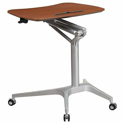 Adjustable Mobile Sit-Down Stand-Up Mahogany Computer Desk with 28.25''W Top