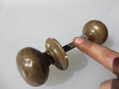 Antique Brass Door Knobs Handles 1 Plate Vintage Architectural Old Edwardian