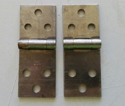 "Pair old vintage Stanley  steel hinges desk table cabinet 1"" X 2 3/4  (439A)"