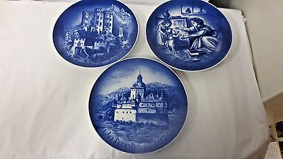 "Lot 3 Bareuther Bavaria Germany 7 1/2"" Father's & Mother's Day Collector Plates"