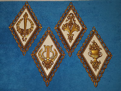 Homco 4 Vintage Beautiful Gold Diamond Shaped Wall Plaques 7224 7225 7226 7227