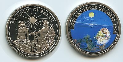 PA07 - Palau 1 Dollar 1994 KM#42 Independence October 1994 Multicolor Farbmünze