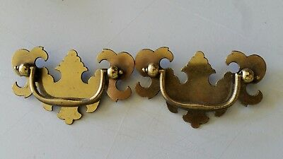 "Pair matching, VINTAGE OLD METAL DRAWER PULLS HANDLES 2 1/2"" CTR TO CTR  (440A)"