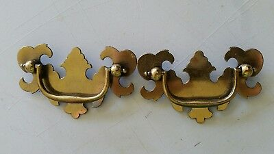 "Pair matching, VINTAGE OLD METAL DRAWER PULLS HANDLES 2 1/2"" CTR TO CTR  (440C)"