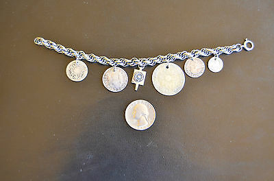 Silver Charm Bracelet with Colonial Coins from Peru