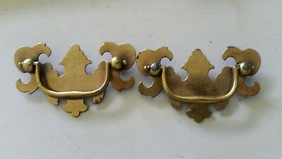 "Pair matching, VINTAGE OLD METAL DRAWER PULLS HANDLES 2 1/2"" CTR TO CTR  (440D)"