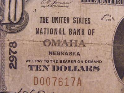 Omaha, Nebraska NE 1929 $10 The United States National Bank FORBIDDEN TITLE