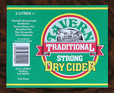 "Étiquette Cidre Royaume-Uni UK Cider Label ""Tavern House"""