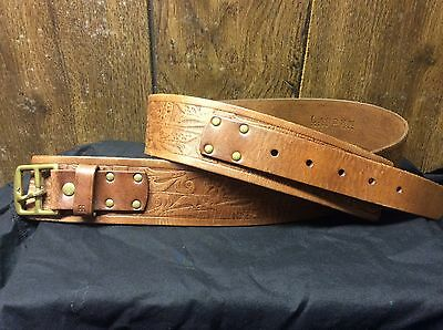 Vintage Ralph Lauren Tooled Leather Belt with Brass Hardware - Size M