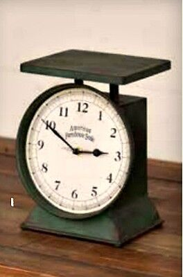 New French Country Farmhouse Chic Shabby Green Vintage Antique Style Scale Clock