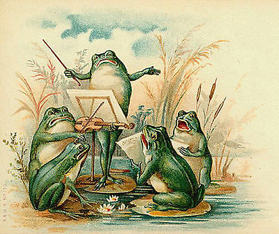 Musician Frogs Antique Image T Shirt Small-Xxxlarge (F)
