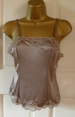 Vintage Charnos Ultra Femme Coffee Silky Nylon Lace Trimmed Camisole Top Size 10