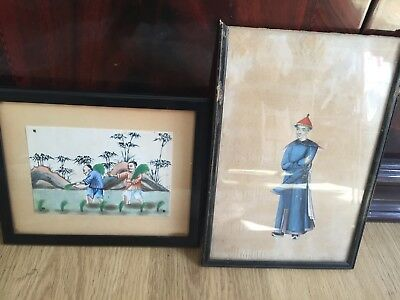 A Pair 19th Century Pith Paintings