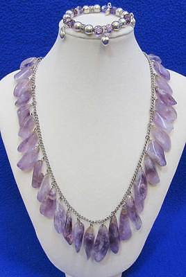 Amethyst Necklace Polished Crystals Dangling Silvertone & Stretch Bracelet