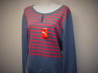 New Womens LARGE PUMA long sleeve Scoop neck 100% cotton golf sweater