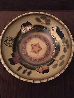 American Folk Art Large Hand Painted Wooden Bowl