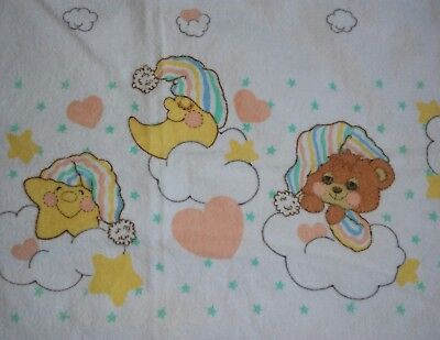 Vtg Riegel Teddy Beddy Sleepy Bear Receiving Blanket Swaddle Flannel Baby Lovey