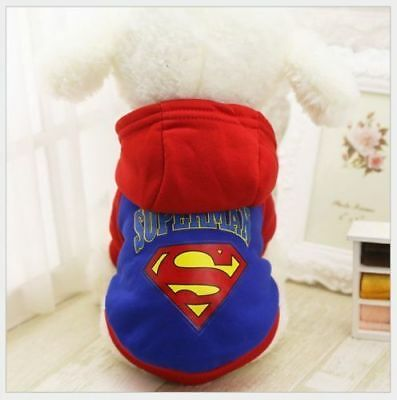 Small Pet Dog Clothes Warm Apparel Cat Puppy Sweater Hoodie Coat Blue Superman M