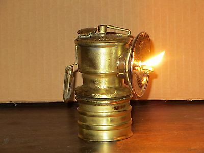 Operating Vintage British Premier Carbide Lamp with Spare Carbide bottom and cap