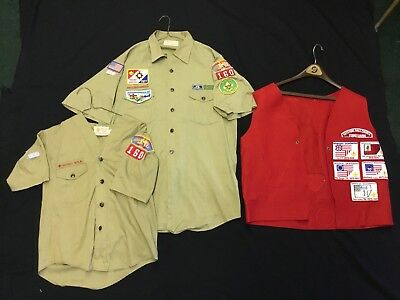 Vintage Boy Scout Keystone Area Council Wool Vest Shirt Set 3 With Patches