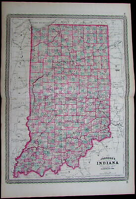 Indiana state Indianapolis counties towns 1870 Johnson scarce large antique map