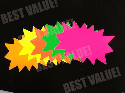 100 Small Blank Solar Star Burst Neon Fluorescent Retail Sale Signs 5 color 20ea