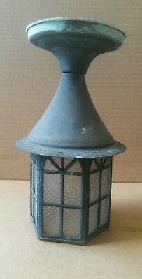 Vintage Mission, Gothic stlye copper porch or ceiling light with great patina