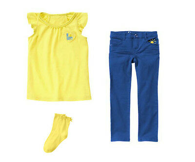NWT Gymboree POCKETFUL OF SUNSHINE Sz 5  3 pcs Yellow Top Blue Pants & Socks