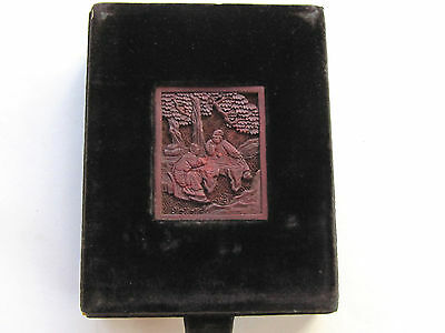 Antique Chinese Box w Cinnabar Carving Inset and Velvet Covering