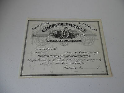1800's Chester Paper Company Stock Certificate