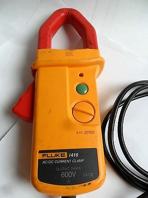 Used Fluke i410 AC/DC Current Clamp Meter DMM Accessory with Leads Powers Up