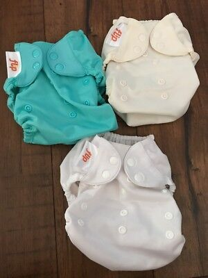 Bumgenius Flip Cloth Diaper Covers Lot Of 3 Teal White And Beige Snaps