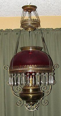 Victorian Hanging Brass Library Parlor Oil Lamp With Ruby Red Shade