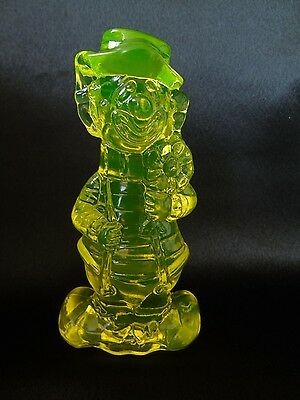 Boyd Vaseline Glass Happy & Sad Clown Figurine