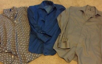 Lot Of 3 Mens Dress Shirts Size M Kenneth Cole, Arrow, Divided