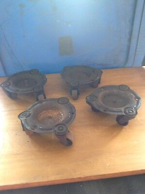 4 Vintage Antique Cast Iron Grand Piano Moving Machinery Dollies Caster Wheels