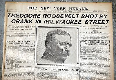 1913 New York Herald Front Pages - Theodore Roosevelt Assassination Attempt