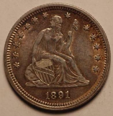 1891 Seated Liberty Quarter AU About Uncirculated (21B)