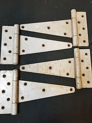 "4 Vintage Antique Old Barn Door Shed Gate Rustic Primitive 8"" T-Strap Hinges"