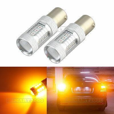 2x Amber 1156 80W 3030 LED Bulbs Super Bright for Turn Signal Lights