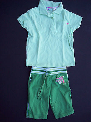 Arizona Girls Sz 4 4T Shorts Polo Shirt Cropped Pants Top Set Soccer Green