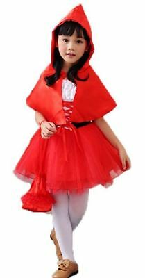 Little Red Riding Hood Girls Kids Costume Fancy Dress Fairytale - Size 2-7
