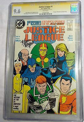 Justice League # 1 5/87 Cgc Ss 9.6 Signed By Kevin Maguire 6/14 1St App Max Lord